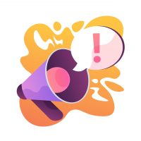 Attention attraction. Important announcement or warning, information sharing, latest news. Loudspeaker, megaphone, bullhorn with exclamation mark. Vector isolated concept metaphor illustration